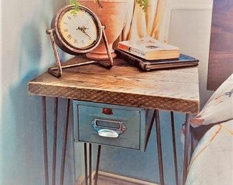 Scaffolding board bedside table with steel hairpin legs