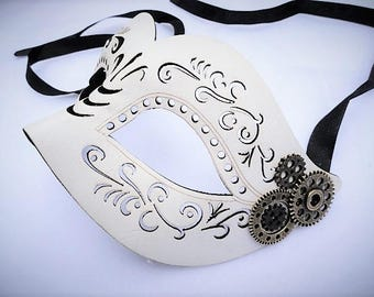 Steampunk White Leather Masquerade Mask