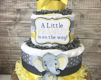 Elephant Baby Shower Diaper Cake in Yellow and Gray, Little Penaut Baby Shower Centerpiece