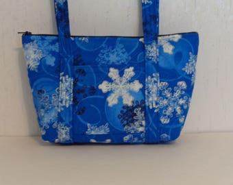 SMALL Blue White Snowflakes Black Snowflakes Print Quilted Small Purse