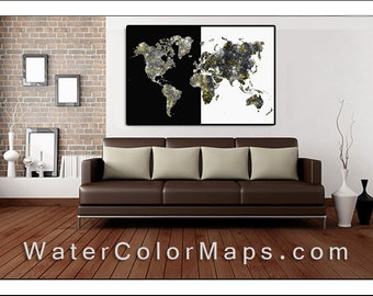 World Map, Map of the World, Large World Map, Map Art, Watercolor Map, Map Print, Large Wall Map, Black and White Map