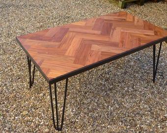 Reclaimed Mahogany Parquet Flooring Herringbone Coffee Table
