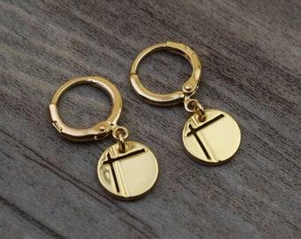 gold cross disc circle hoops endless hoop huggie dangle earring simple earrings everyday/gift for her