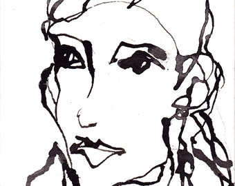 Line Drawing Face Woman : Pen and ink sketch drawing nyc brooklyn bridge black