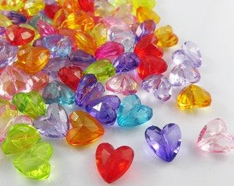 20g 35pcs Crystal Heart Craft Beads Transparent Acrylic Mixed 12x12mm Hole 1.3mm