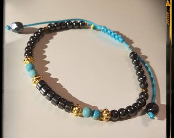 Hematite bracelet, Turquoise and gold-plated