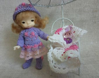 """Pukipuki Lati White SP Soom Imda 11-12 cm BJD Outfit """"Lilac and pink"""" for dolls of similar format"""