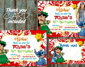 Lilo and Stitch Invitation, Dinsey Lilo and Stitch Invitation, Lilo and Stitch Printable Invitation, Lilo and Stitch Birthday Party Supplies