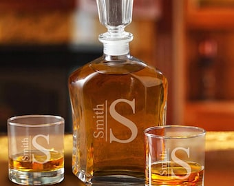 Monogrammed Decanter and Rocks Glasses   Personalized Heavy Glass Whiskey Decanter Set   Gift for Guys   Custom Engraved Decanter Set