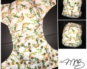 Anchors/flowers OS Pocket diaper