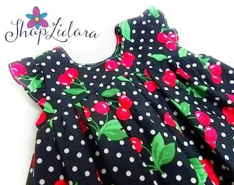 Cherry Dress, Red Cherry  Dress, Vintage Baby Dress, Polka dot dress, Toddler Dress, Girl's Dress
