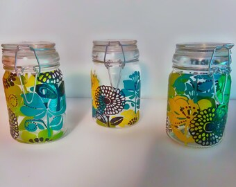 Colorful floral mini jars
