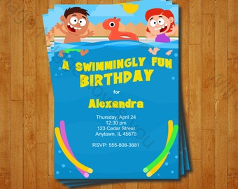 Swimming Party Invitation - printable birthday invite for a Summer Pool Birthday Party