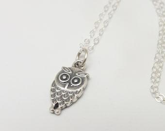 Owl Necklace, Owl Silver Necklace, Owl Pendant, Owl Jewelry, Owl Charm, Sustainable Jewelry, Eco Fashion, Minimalist Jewelry, Owl