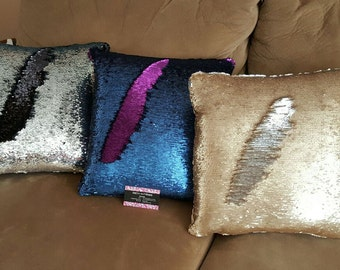 Holiday Reversible sequin pillows (mermaid like)
