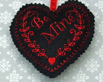 Embroidered heart, felt heart, hanging heart, machine embroidered heart, be mine, love