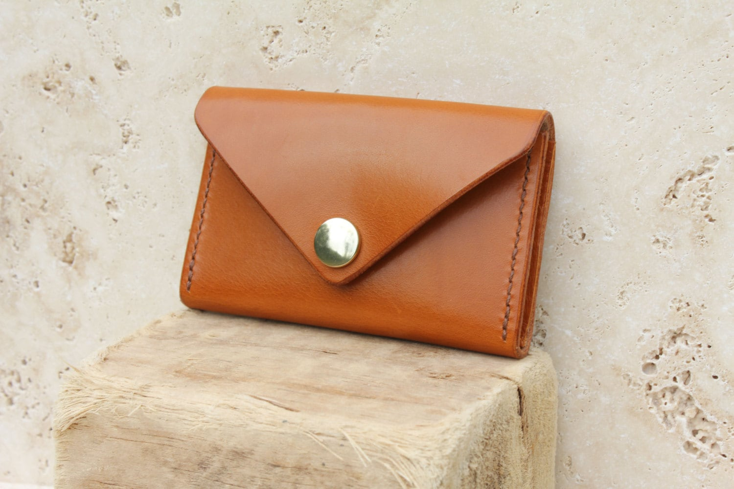 Tan leather envelope card wallet. British veg-tan leather card ...