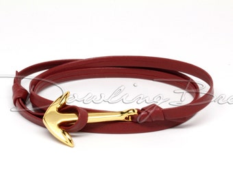 Dark Red Nappa Leather Anchor Bracelet