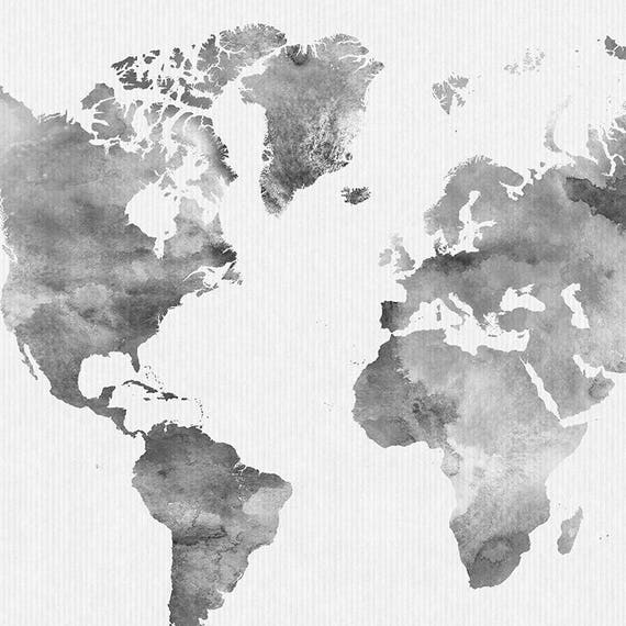 World map watercolor print travel map large world map world map watercolor print travel map large world map minimalist world map grey color watercolor poster home decor artprintsvicky gumiabroncs Gallery