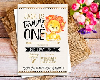 Blue lion baby shower invitation or birthday invitations lion birthday invitation baby lion birthday party invite jungle birthday invitation party invites printable filmwisefo