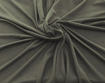 Bamboo Spandex Fabric Jersey Knit by the Yard - Olive Gray 6/30/16