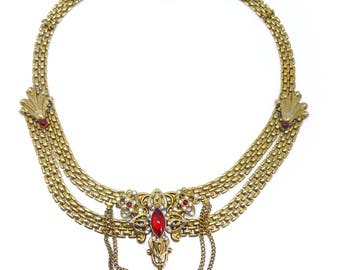 Vintage Gold Tone Victorian Revival Red Glass Cabochon Chain Necklace