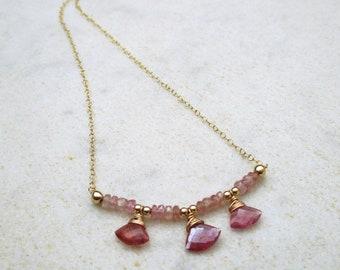 Pink sapphire necklace, delicate gold filled sapphire gemstone necklace, dainty gold chain necklace, elegant September birthstone necklace