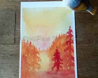 Sunlit Forest Watercolor Fine Art Print