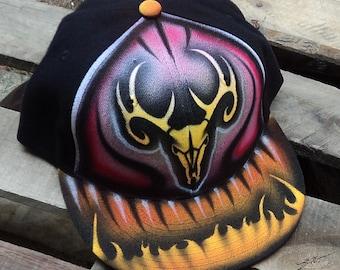 Airbrushed Deer Skull Snapback Hat Hand Painted airbrush