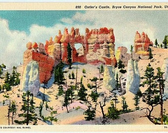 Vintage Utah Postcard - Oastler's Castle at Bryce Canyon National Park (Unused)