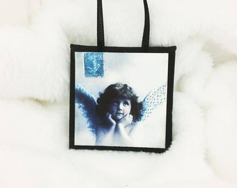 Little Blue Angel Ornament, Chin in Hands Antique Postcard Image Miniature Art Wall Hanging