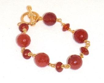 Carnelian Gemstone and Gold Bracelet