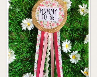 Pink Vintage Fabric Mummy To Be Badge Rosette
