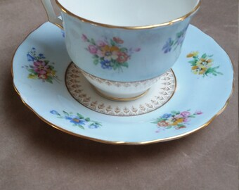 Crown Staffordshire Fine Bone China Teacup. Flower Cluster on Pale Blue. Made in England