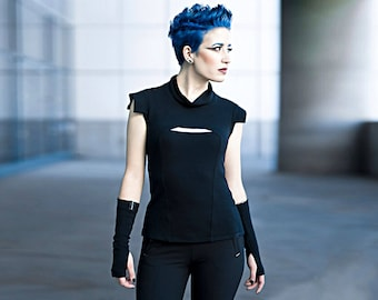 Cyberpunk vest futuristic clothing cyberpunk clothing ravewear sleeveless shirt avant-garde geek fashion Industrial alternative PRI woman