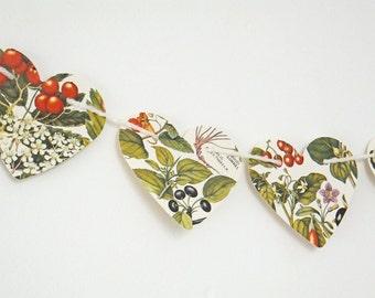 Christmas Berries Bunting, Fall Heart garland, Autumn Bunting, Wedding decor, Christmas Decor, Fall Wedding, Heart Bunting, Botanical Banne