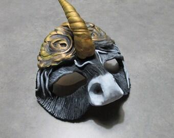 Gypsy Unicorn Mask, costume, masquerade, Gypsy horse, black and white horse, halloween mask, horned horse