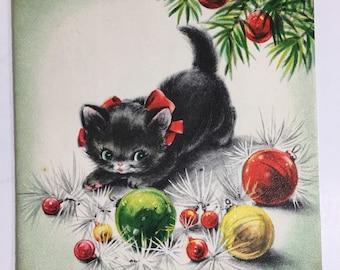 Vintage Hallmark Christmas Card 1950's Cat with ornaments