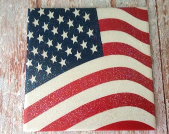 Decoupage American Flag Trivet, Ceramic Tile Trivet, Napkin Decorated Trivet or Wall Hanging