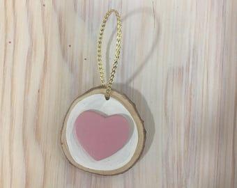 Rustic wooden ornament - Pink Heart