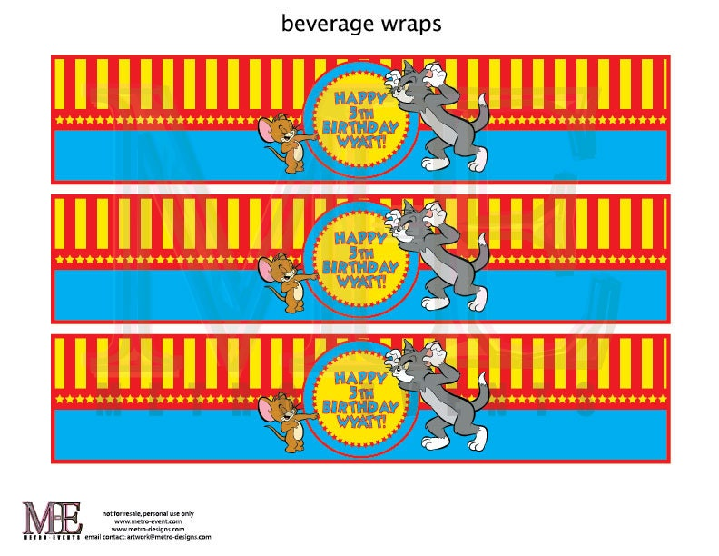 Tom and Jerry Birthday Water Bottle Labels