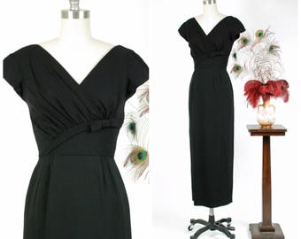 Vintage 1960s Dress - Rare 60s Full Length Dorothy O'Hara Evening Gown with Asymmetric Bow From Incredible Collection