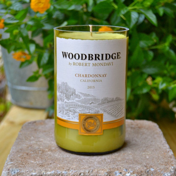 Upcycled Woodbridge Chardonnay Wine Bottle Candle made with soy wax