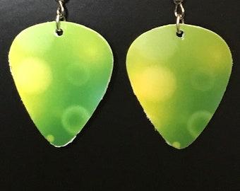 Lime Green Guitar Pick Earrings