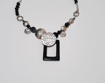 Black Onyx and sterling silver necklace.