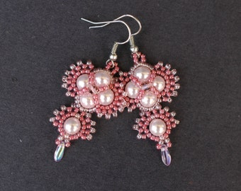 Beadwork Pink Swarovski Pearls Dangle Earrings