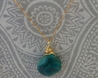 Chrysocolla Tear Drop on Gold Filled Chain