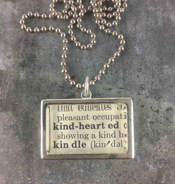 One word dictionary necklace kindhearted rectangle framed one word dictionary necklace kindhearted rectangle framed pendant aloadofball Choice Image
