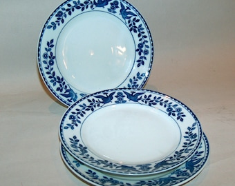 p7695: Nippon Twin Phoenix SET 3 Bread Plates Royal Sometuke Blue and White at Vintageway Furniture