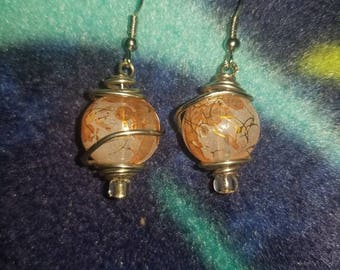 Wire Wrapped Glass Earrings